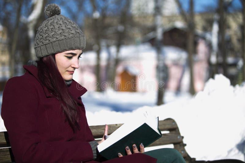 Moça em um chapéu e em um revestimento de Borgonha que lê um livro, sittin foto de stock royalty free