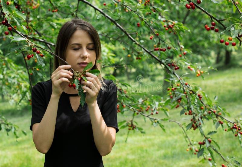 Moça em um vestido preto que recolhe uma colheita da árvore de cereja fotos de stock royalty free