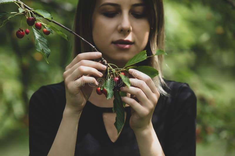 Moça em um vestido preto que recolhe uma colheita da árvore de cereja fotografia de stock royalty free