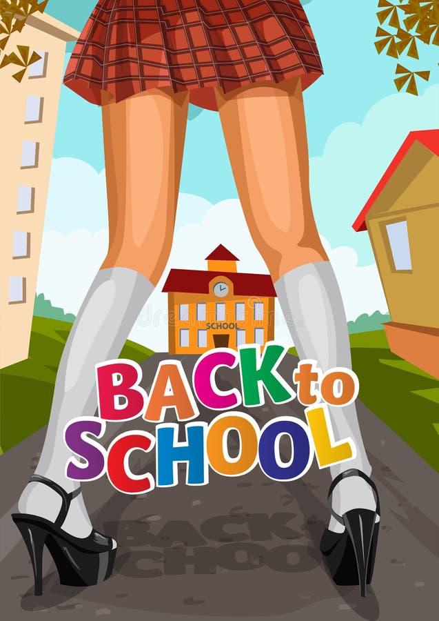 A moça em uma escola da saia curto vai à escola ilustração do vetor