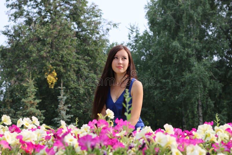 A moça, estudante, senta-se perto das flores no parque fotos de stock royalty free