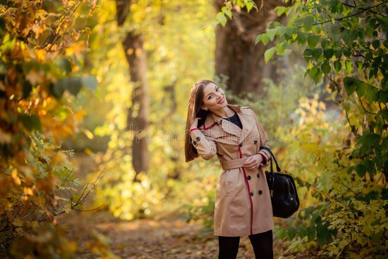 Moça moreno modesta bonita no outono imagens de stock