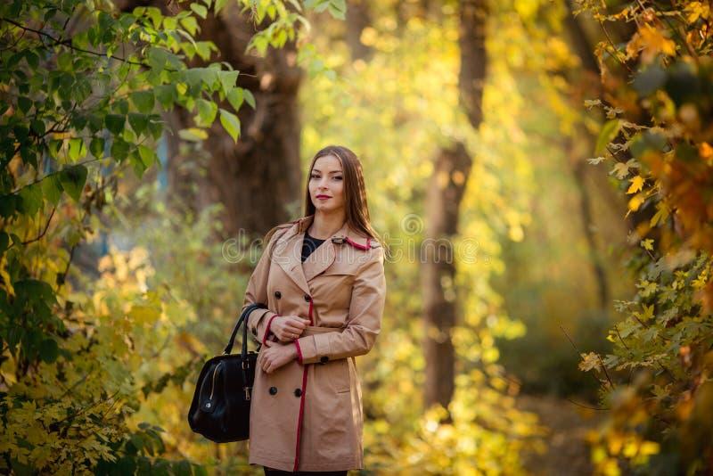Moça moreno modesta bonita no outono imagem de stock royalty free