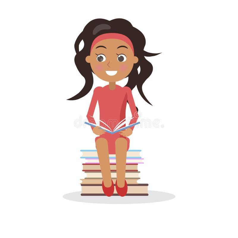 A moça moreno no vestido com livro de texto aberto senta-se ilustração stock