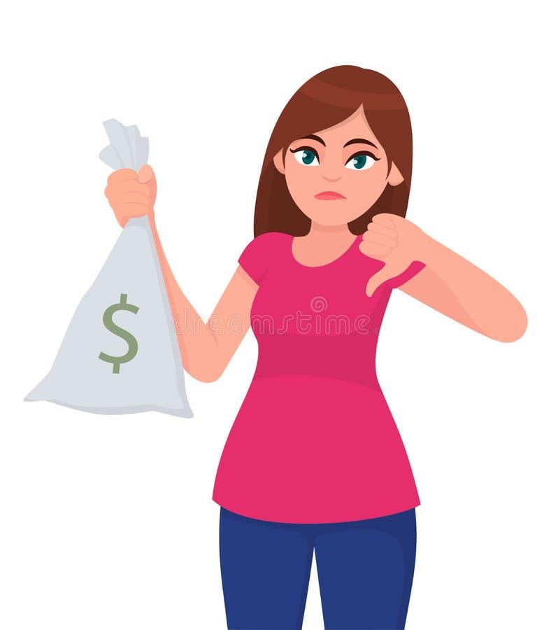 Moça, mulher ou dinheiro fêmea da terra arrendada/mostrar, dinheiro, saco da nota da moeda com ícone do dólar e gesticular ou faz ilustração stock