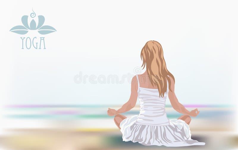 Moça na posição dos lótus sobre a praia Meditação, prática espiritual, ioga ilustração royalty free