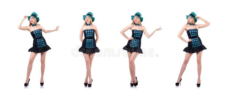A moça no conceito da celebração de St Patrick imagens de stock