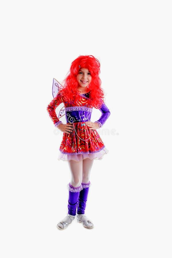 Moça no traje colorido do carnaval fotografia de stock