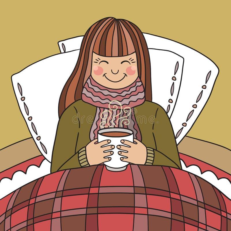 Moça que bebe o chá quente ilustração royalty free