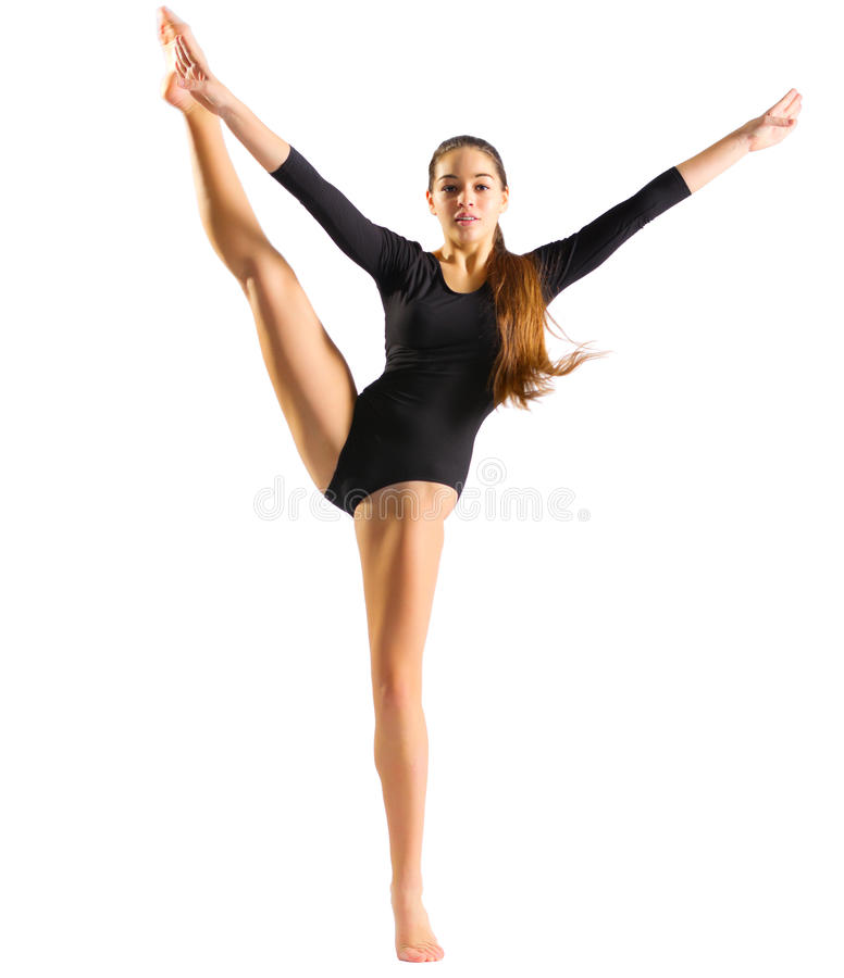 Moça que faz exercícios ginásticos fotografia de stock