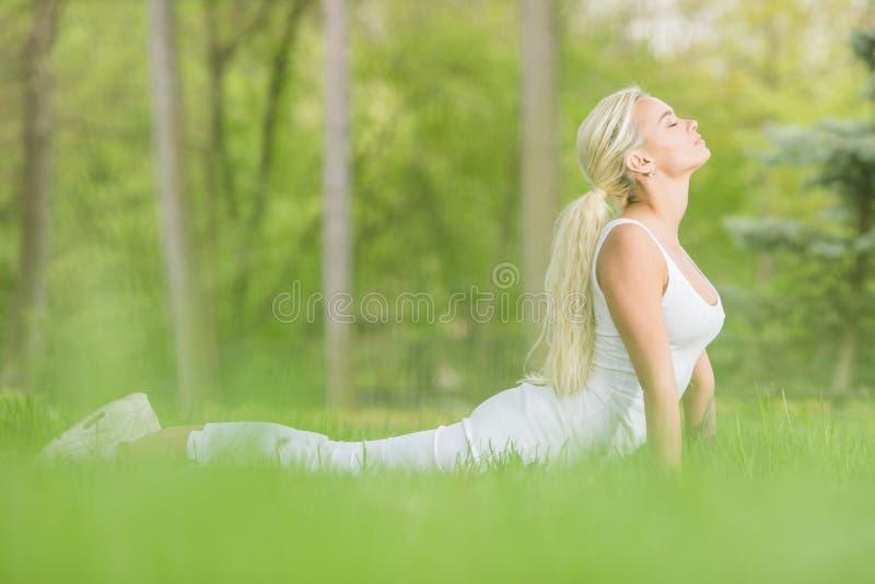 Moça que faz a ioga no parque imagem de stock royalty free
