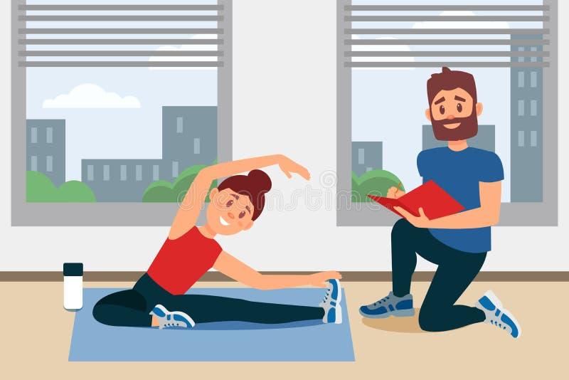 Moça que faz o exercício que senta-se no assoalho Notas da escrita do treinador no dobrador Interior do gym da aptidão com janela ilustração do vetor