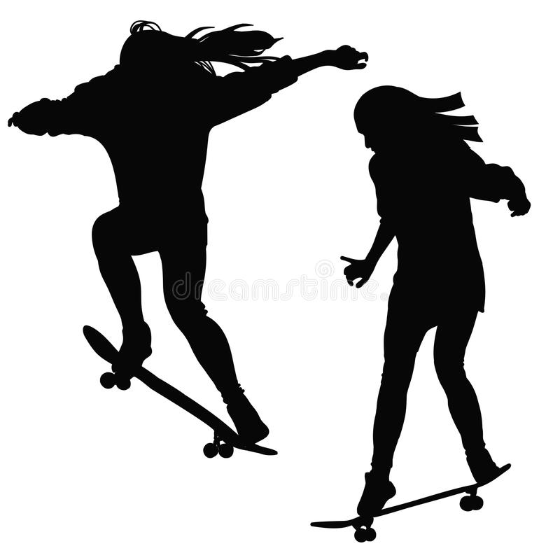 Moça que monta um skate em preto e branco ilustração stock