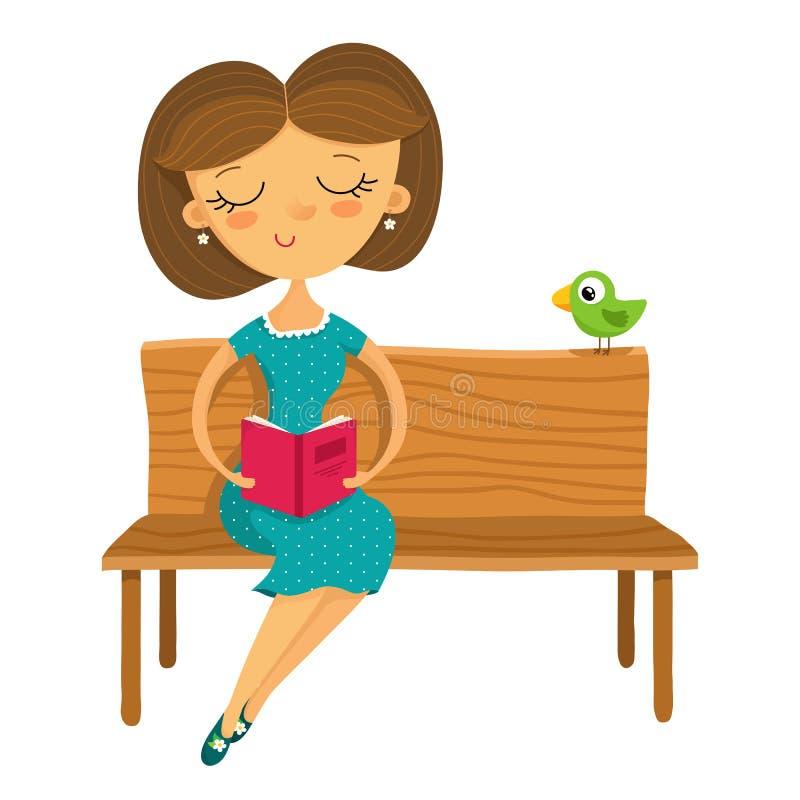 Moça que senta-se em um banco e que lê um livro, isolado no wh ilustração royalty free