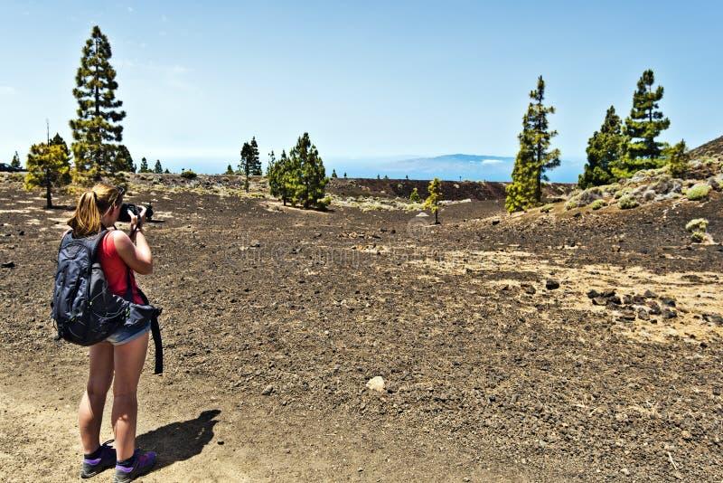 Moça que toma a foto no parque nacional de Tenerife foto de stock