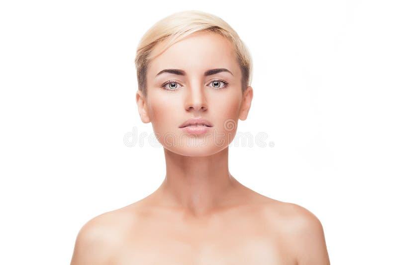 A moça sem compõe e pele perfeita fotografia de stock royalty free