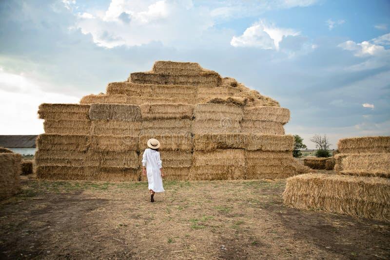 A moça veste o vestido branco do verão perto do pacote de feno no campo Menina bonita na terra de exploração agrícola Colheita do imagem de stock royalty free
