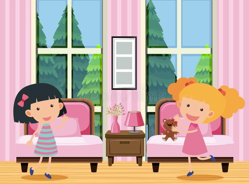 Moças no quarto ilustração stock