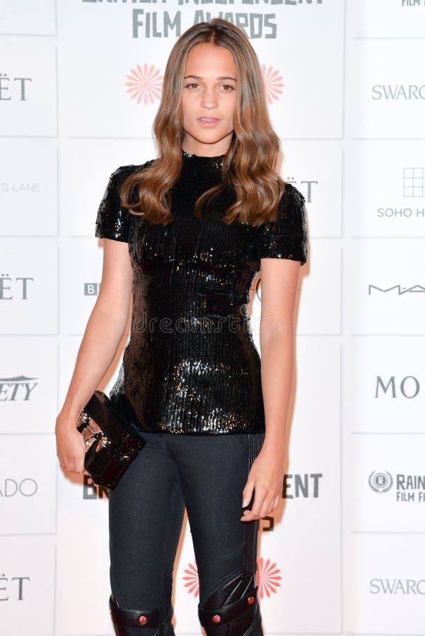 Moët British Independent Film Awards 2014. LONDON, ENGLAND - DECEMBER 07: Alicia Vikander attends the Moet British Independent Film Awards 2014 at Old royalty free stock photography