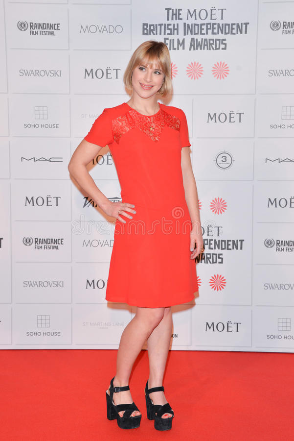 Moët British Independent Film Awards 2014. LONDON, ENGLAND - DECEMBER 07: Camilla Rutherford attends the Moet British Independent Film Awards 2014 at Old royalty free stock photos