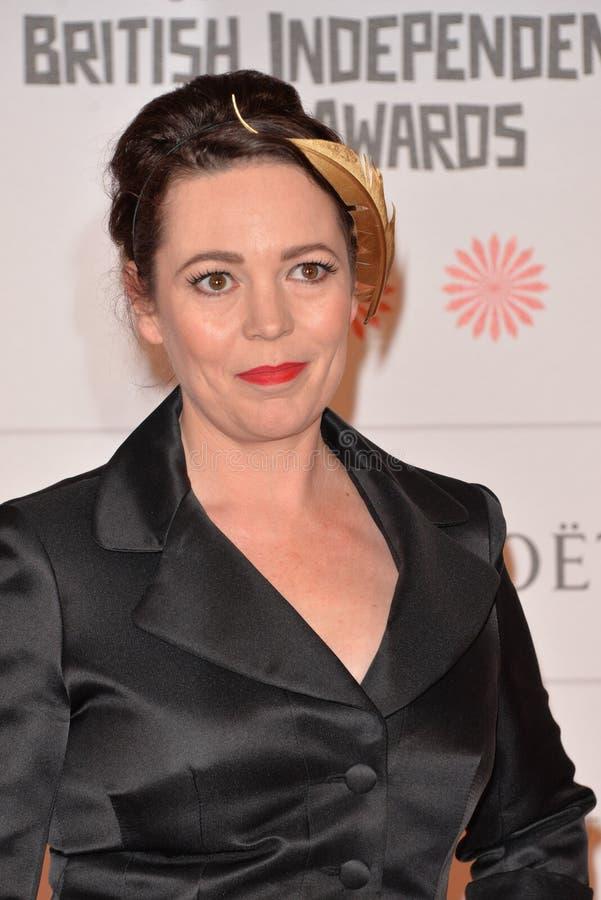 Moët British Independent Film Awards 2014. LONDON, ENGLAND - DECEMBER 07: Olivia Colman attends the Moet British Independent Film Awards 2014 at Old royalty free stock images