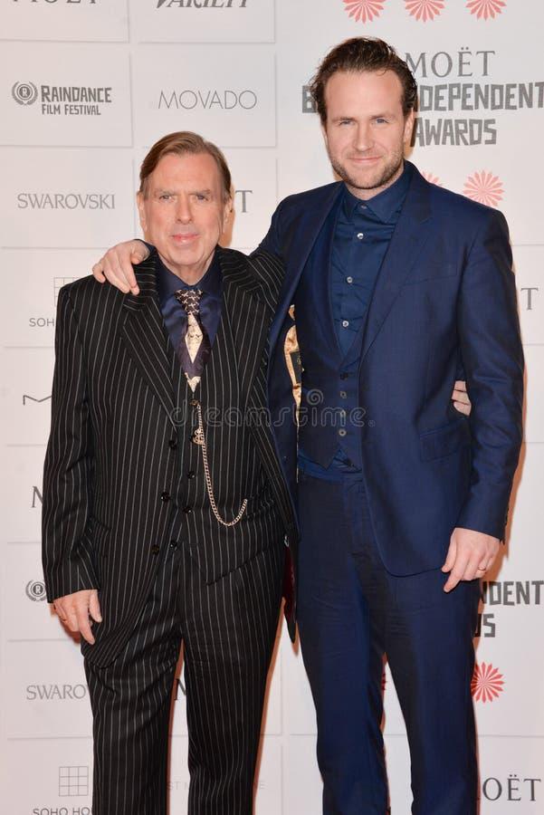 Moët British Independent Film Awards 2014. LONDON, ENGLAND - DECEMBER 07: Rafe Spall; Timothy Spall attends the Moet British Independent Film Awards 2014 at stock photo