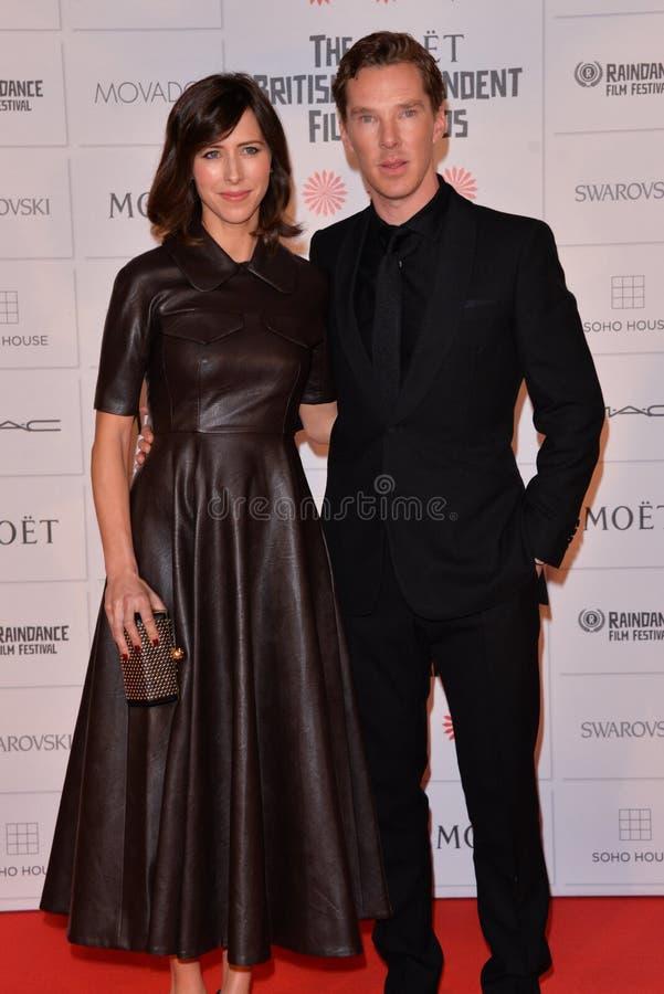 Moët British Independent Film Awards 2014. LONDON, ENGLAND - DECEMBER 07: Sophie Hunter; Benedict Cumberbatch attends the Moet British Independent Film Awards stock photo
