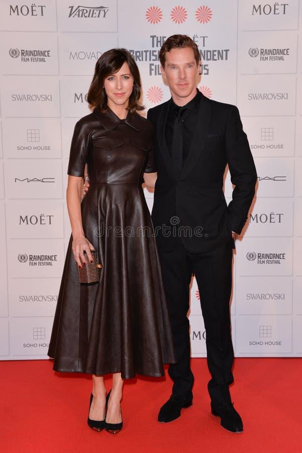 Moët British Independent Film Awards 2014. LONDON, ENGLAND - DECEMBER 07: Sophie Hunter; Benedict Cumberbatch attends the Moet British Independent Film Awards stock photos