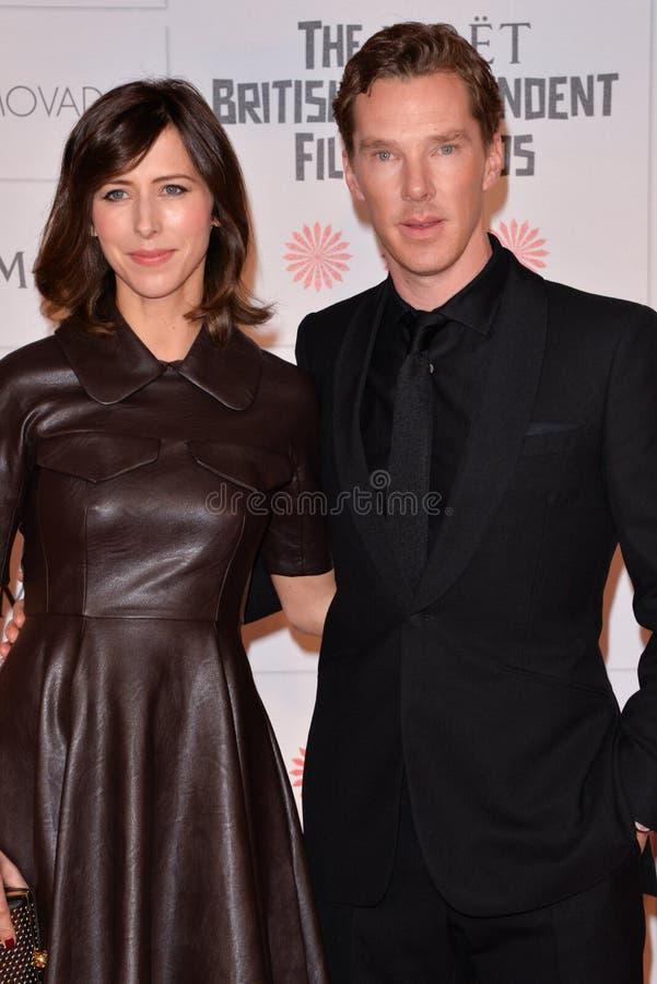Moët British Independent Film Awards 2014. LONDON, ENGLAND - DECEMBER 07: Sophie Hunter; Benedict Cumberbatch attends the Moet British Independent Film Awards royalty free stock images