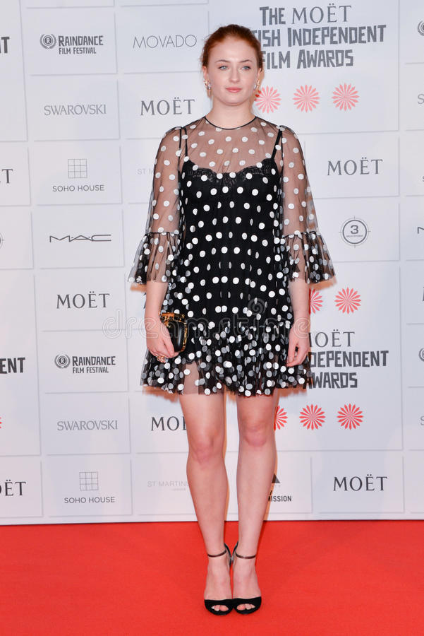 Moët British Independent Film Awards 2014. LONDON, ENGLAND - DECEMBER 07: Sophie Turner attends the Moet British Independent Film Awards 2014 at Old royalty free stock photography