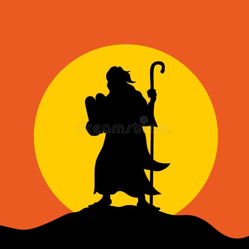 Moïse avec les Tablettes de l'engagement sur le mont Sinaï illustration de vecteur