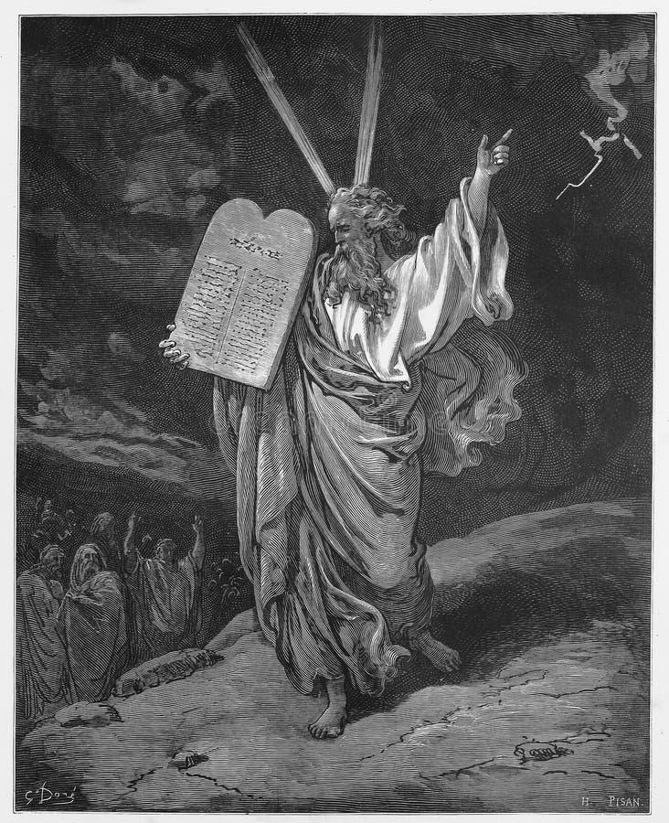 Moïse descend de la montagne avec la tablette image libre de droits