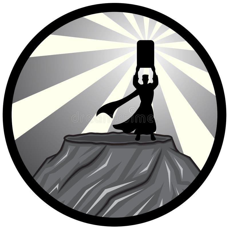 Moïse et silhouette de Dix commandements illustration stock