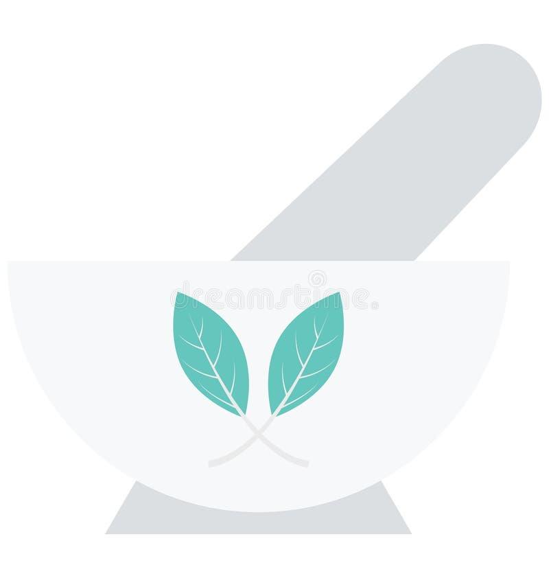 Moździerz, tłuczek, Odosobniona Wektorowa ikona która może łatwo redagować moździerz lub modyfikująca, tłuczek, Odosobniona Wekto ilustracji