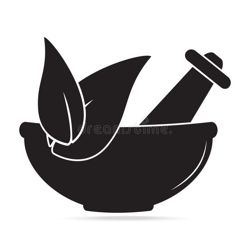 Moździerz z ziele ikoną Medycyny alternatywny Pojęcie ilustracji