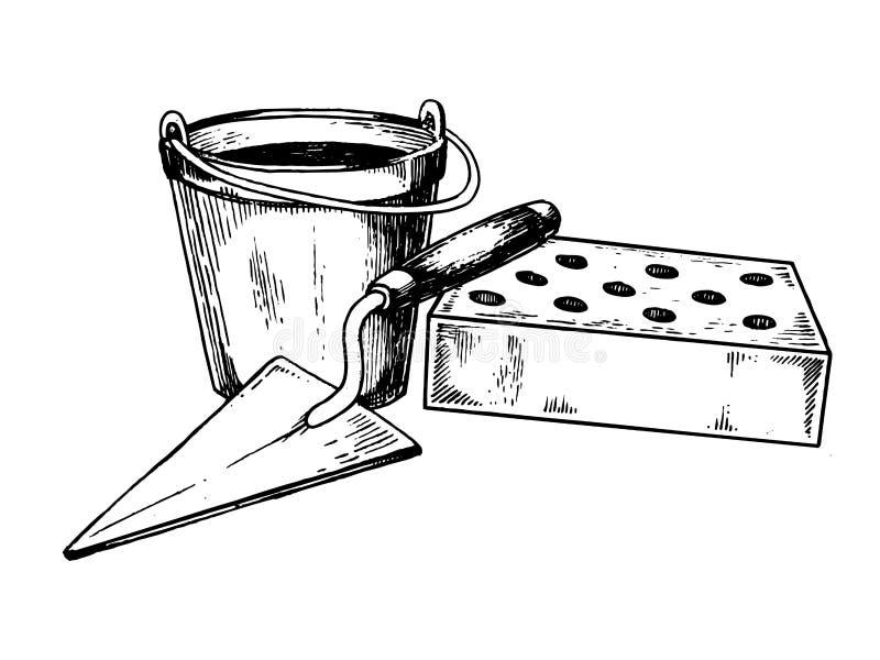Moździerzowa ceglanej kielni wystrzału sztuki wektoru ilustracja ilustracja wektor