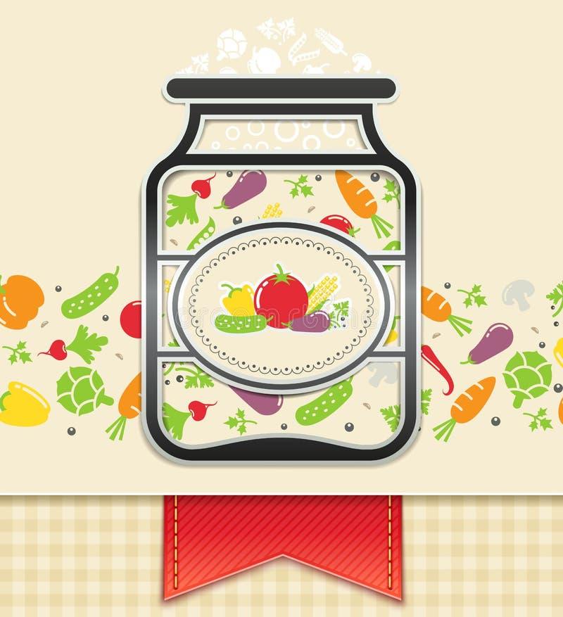 Może z zakonserwowany warzywami. karmowy tło ilustracji