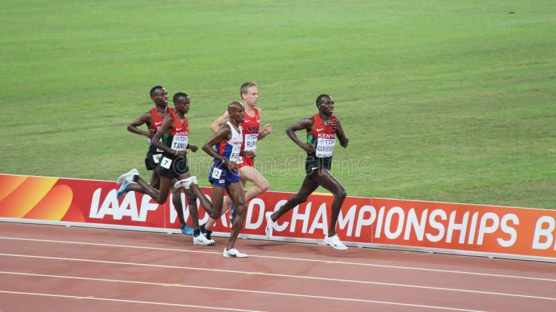 Mo Farah- und Kenyantrio in den 10.000 Metern abschließend an den IAAF-Weltmeisterschaften in Peking, China lizenzfreie stockfotografie