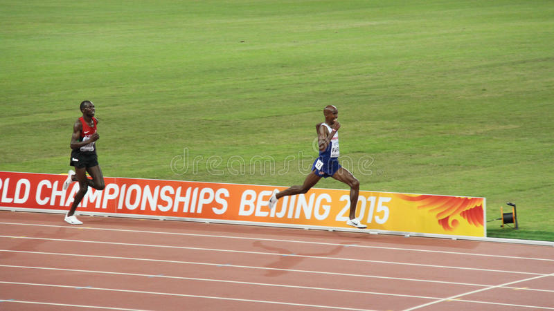 Mo Farah wins the 10,000 metres at IAAF World Championships in Beijing, China. Mo Farah powering to the finishing line to win the 10,000 metres title at the IAAF royalty free stock photography