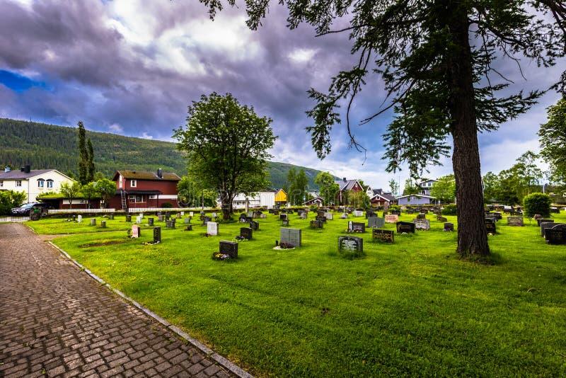 Mo I Rana - June 16, 2018: The cemetery of Mo I Rana, Norway stock photos