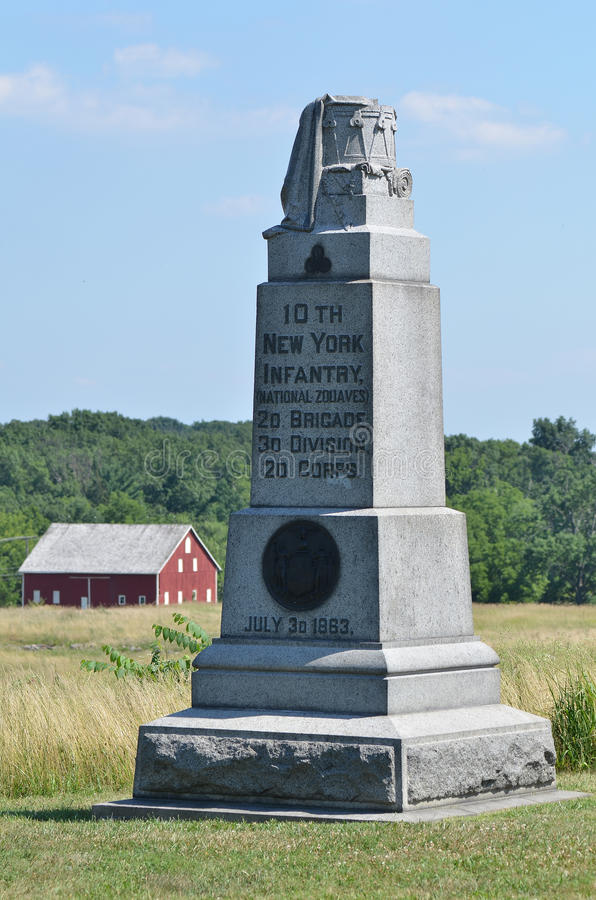 10mo monumento de la infantería de Nueva York en Gettysburg, Pennsylvania foto de archivo libre de regalías