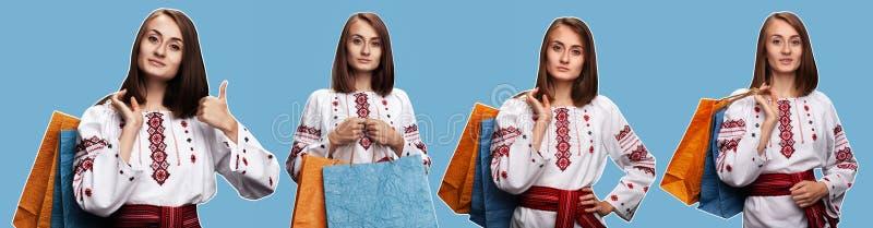 Mo?a no terno nacional ucraniano imagens de stock royalty free