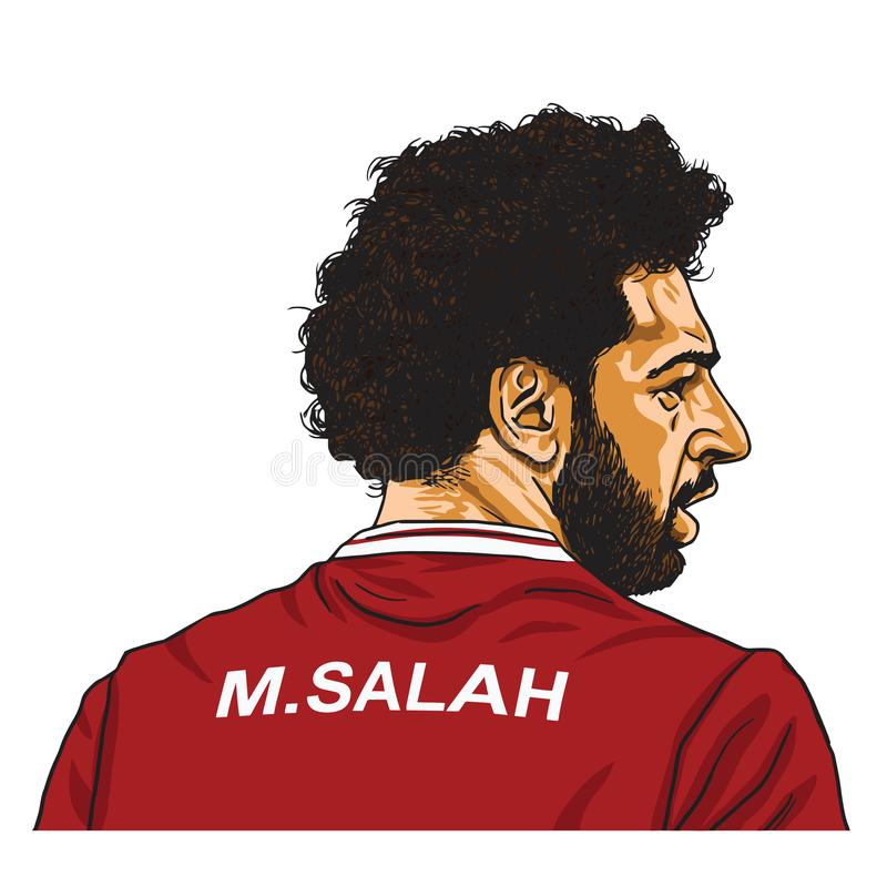 Mo Salah Vector Cartoon Caricature Illustration Maj 30, 2018 stock illustrationer