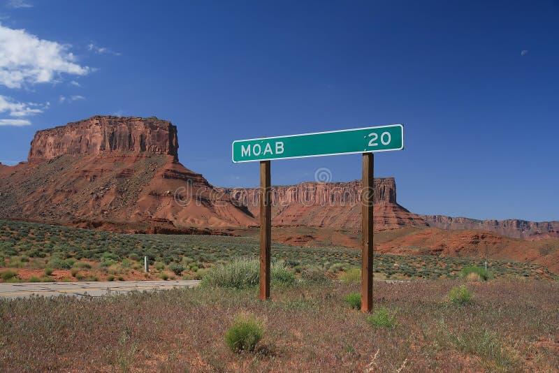 moab οδικό σημάδι στοκ εικόνα με δικαίωμα ελεύθερης χρήσης