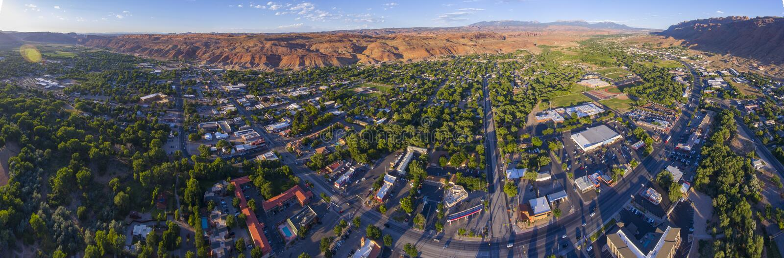 Moab city center aerial view, Utah, USA. Moab city center and historic buildings panorama aerial view in summer, Utah, USA stock photography