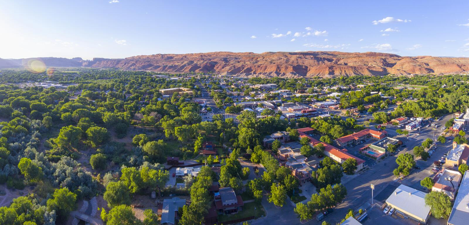 Moab city center aerial view, Utah, USA. Moab city center and historic buildings panorama aerial view in summer, Utah, USA stock images