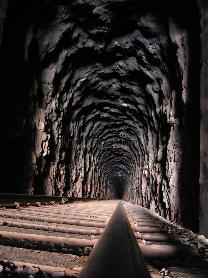Moab Train Tunnel. Long exposure inside a train tunnel near Moab, UT stock image