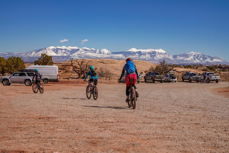 3/16/19 Moab, Utah.  A group of people getting ready for a long day out mountain biking in Moab, Utah royalty free stock photography