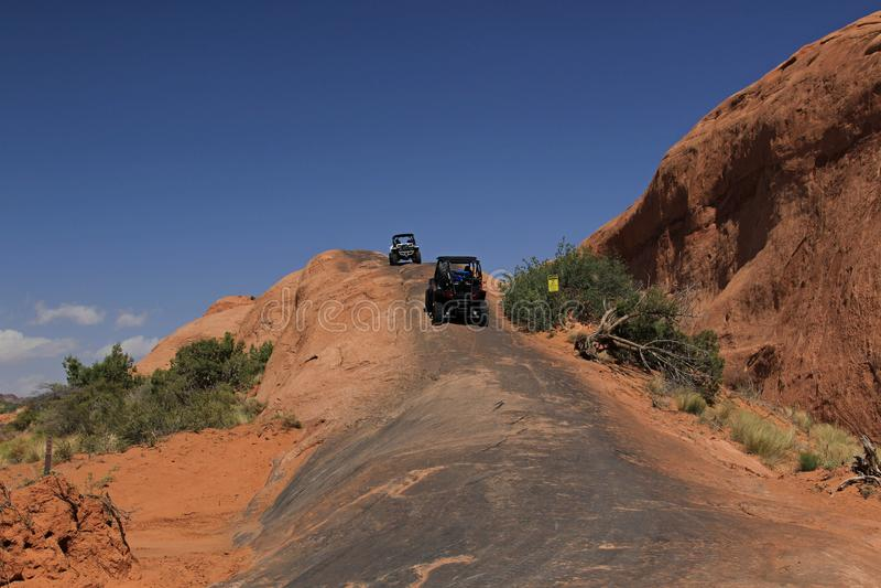 Moab, Utah. Rock Crawlers going up neat Moab, Utah stock photo
