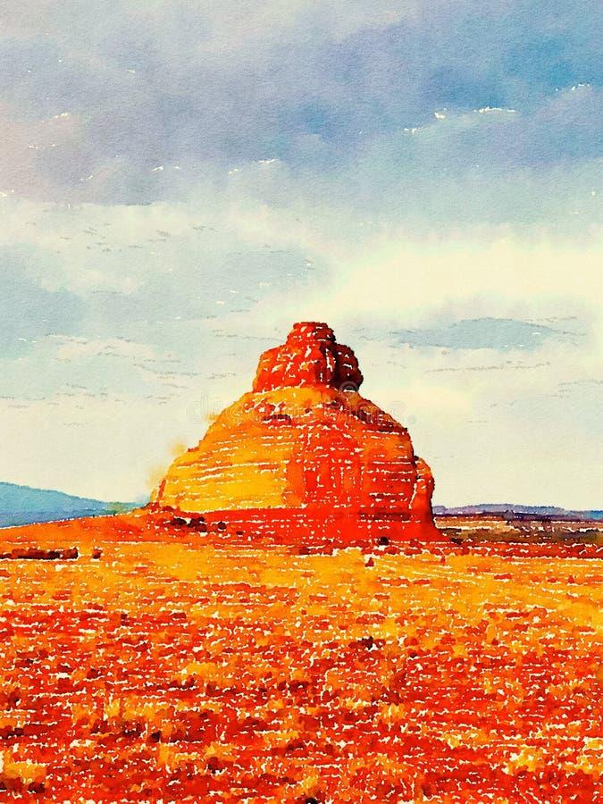 Moab woestijnlandschap in waterverf, Moab Utah stock afbeeldingen